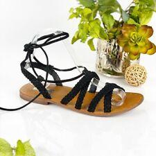 TOPSHOP Size 37 US 6.5 Black Suede Braided Strap Sandal Mid Calf Wrap Tie