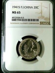 NGC MS65-French Indo-China 1941S Liberty 20 Cents GEMBU Scarce