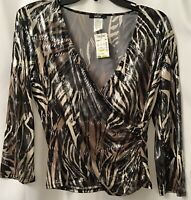 MSK Women's Animal Print Faux Wrap Sequin Top Figure Flattering! Sz M NWT!