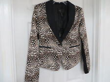 NWT $228  BCBG Maxazria Bowie  Camelcombo  Brown/ivory Print Fitted Blazer  M