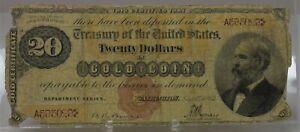rare 1882 $20 US gold certificate FR 1176 Bruce & Wyman brown seal  A595029