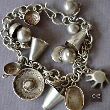 *Vintage OLD Mexican  Sterling Silver 14 Charms Bracelet