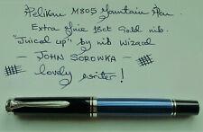 More details for pelikan souveran * m805 blue/black striped fountain pen * with free pen case