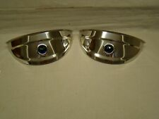 "polished stainless steel head light visors with blue jewel 7 inch visors 7"" lids"
