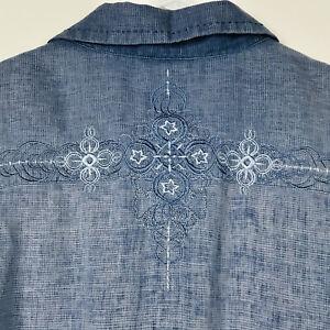 Vintage Patagonia Mens Shirt Rhythm Hemp Blend Embroidered Blue Short Sleeve L