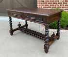 Antique French Desk Table with Drawers Oak BARLEY TWIST Library Study Office 19C