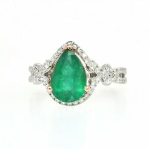 Zambian Emerald Pear 1.76 Ct Halo Ring With Diamonds In 14k White Gold (39083)
