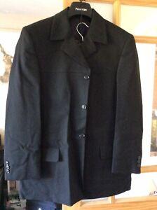 Mens Black 3/4 Length Prince Edward Style Suit. Jacket 38S  & Trousers 34S.