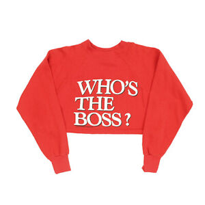 """VTG 80s Whos the Boss TV Show Adult Large 40"""" Cropped Pullover Sweatshirt Tony"""