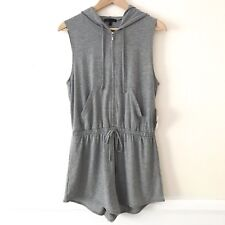 afca0a72e879 BeBop Clothing Womens Juniors Hooded Romper Large Gray Front Zip Drawstring