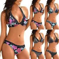 Womens Floral Bikini Set Push Up Padded Bra Swimwear Beach Swimsuit Bathing Suit