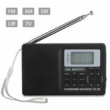 Portable Digital FM AM Radio Receiver DSP Full World Band Stereo w/ Earphone