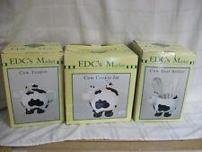 Vintage 3 Piece Ceramic Holstein Cow Set -Cookie Jar, Teapot, Utensils Holder