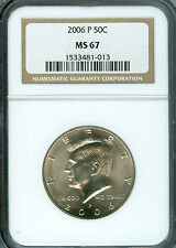 2006-P KENNEDY HALF DOLLAR NGC MS-67 2ND FINEST GRADED BUSINESS STRIKE .