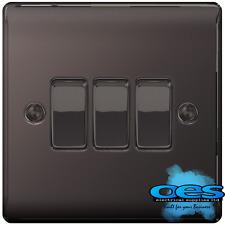 BG Nexus NBN43 Polished/Black Nickel Triple Light Switch 3 Gang 2 Way