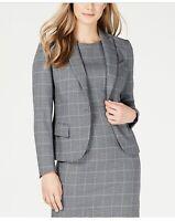 Anne Klein Plaid Peak Lapel Jacket Versailles Gray Size 14