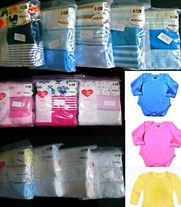 Baby 100% Cotton BOYS/GIRLS Baby-grows 3 Pack Bodysuits Sleepsuits Playsuits Set