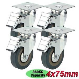 4PCS Heavy Duty 75mm Rubber Swivel Castor Wheels Trolley Caster Brake 360KG UK