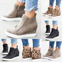 Womens Hidden Wedge Heel Trainers Sneakers Ladies Casual Zipper Shoes Sizes 4-7