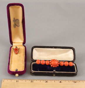 Antique 19thC Victorian Ladys Coral Pin & Carved Lily Stickpin + Cases, NR