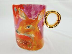 ANTHROPOLOGIE Lauren Carlson Walcott Art Deer Coffee Mug Cup