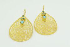 Ottomangems Semi joya preciosa piedra Pendientes De Oro Plateado Jade filigrana hecho a mano