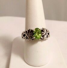BEVERLY HILLS STERLING SILVER 1 CT CHRYSOPRASE RING.SIZE 7.5