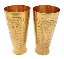 800 ML Indian Hand Crafted Floral Design Drink ware Tumbler Brass Glass 2 PC