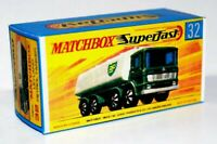 Matchbox Lesney No 32  LEYLAND BP TANKER empty Repro G style Box