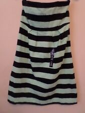 New Gap Navy Blue & Green Striped Knitted Strapless Dress Size: UK 4 RRP: £24.99