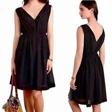 9304f2cad0 Anthropologie Draped Fit + Flare Dress 4 Small Black Crepe V Neck Front +  Back