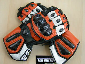 Leather Motorcycle Gloves Carbon Fiber Gauntlet half price of Icon REV'IT