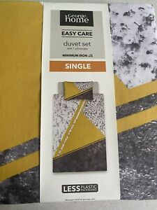 NEW SINGLE Duvet Set Mustard Grey yellow Marble Pattern 135x200 Reversible Asda