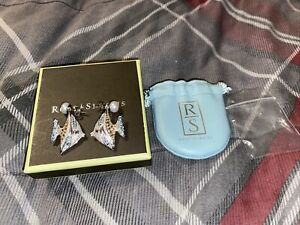 Ross and Simons 7-7.5mm Cultured Pearl And Multi-Stone Angelfish Earrings