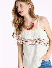 NWT Womens Lucky Brand Size M Embroidered Off The Shoulder Top marshmallow $70