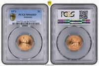 1971 AUSTRALIA 2 CENTS BU PCGS MS66RD OLD COIN ONLY 9 GRADED HIGHER