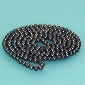 """Single strands long 7-8mm natural freshwater cultured black pearl necklace 30"""""""