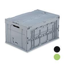 1 x Transportbox Faltbox Klappkiste Klappbox Universalbox mit Deckel grau 60l