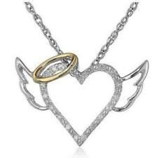 Heart with Angel Wings and Halo - Pendant Necklace Brand New Dancing in the Sky