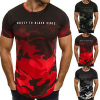 Fashion Men's Round Neck T-shirt Slim Fit Short Sleeve Camo Color Casual Tops