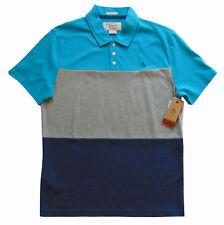 Men's PENGUIN Blue Gray Color Block Polo Shirt Medium M NWT Slim Fit DeFeCt!
