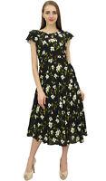 Bimba Frauen Ruffly Sleeve Digital-Blumenmuster Black Cotton-Partei-Kleid-36-7zg