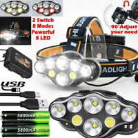 650000LM T6 LED Headlamp Headlight Torch Rechargeable Flashlight Work Light Lamp