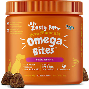 Zesty Paws Omega 3 Alaskan Fish Oil Chew Treats for Dogs - with AlaskOmega for E