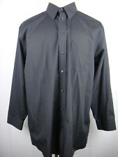 STAFFORD Wrinkle Free Black Dress Shirt Long Sleeve BF Men's Size 17 1/2 - 34