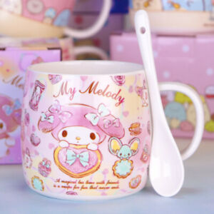 Cute My Melody Ceramic Cup Milk Coffee Mug Cartoon Cup With Spoon Girl's Gifts