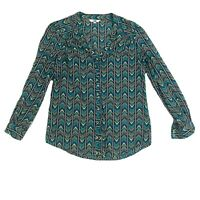 Jag Womens Button Down Long Sleeve Colourful Top Size 8