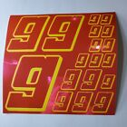 PINK CHROME w/Yellow  #9's Decal Sticker Sheet DEFECTS  1/8-1/10-1/12 RC Mo BoxD