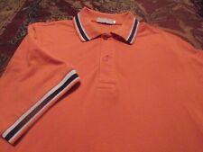 NINA RICCI Men's Polo Style 100% Cotton Medium ORANGE w/ Black & White SS Shirt