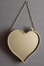 Shabby Chic Metal Heart Shaped Mirror - Ivory - 29 x 29 cm